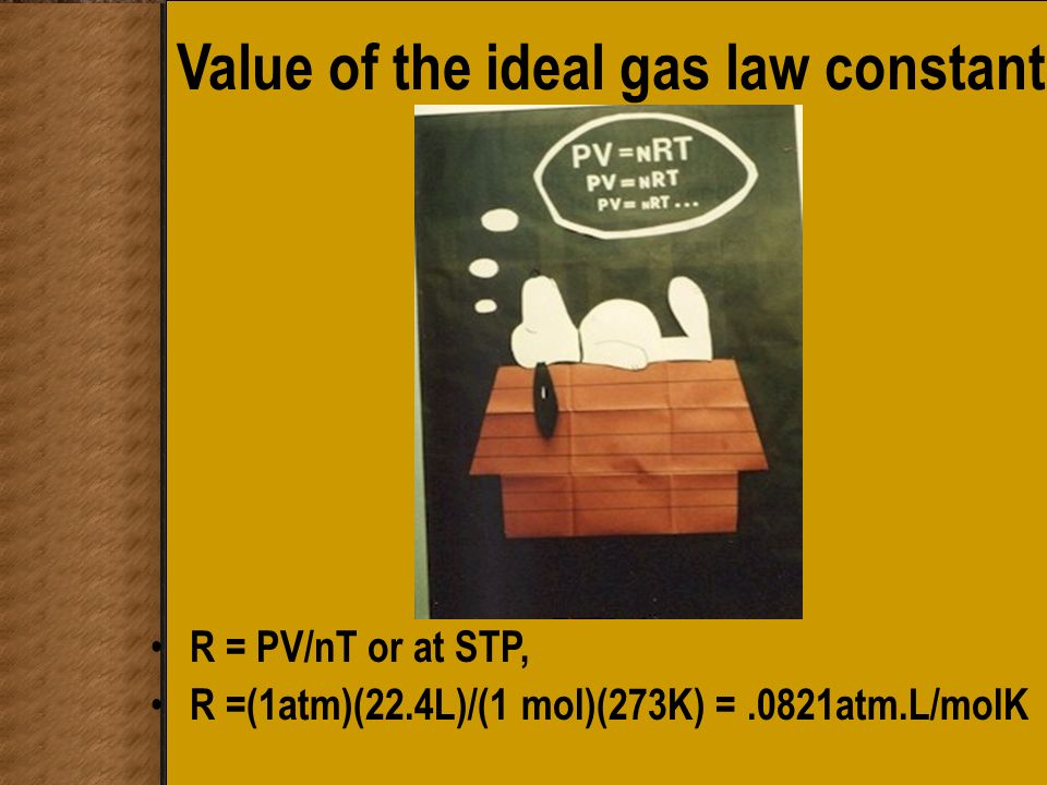Value of the ideal gas law constant