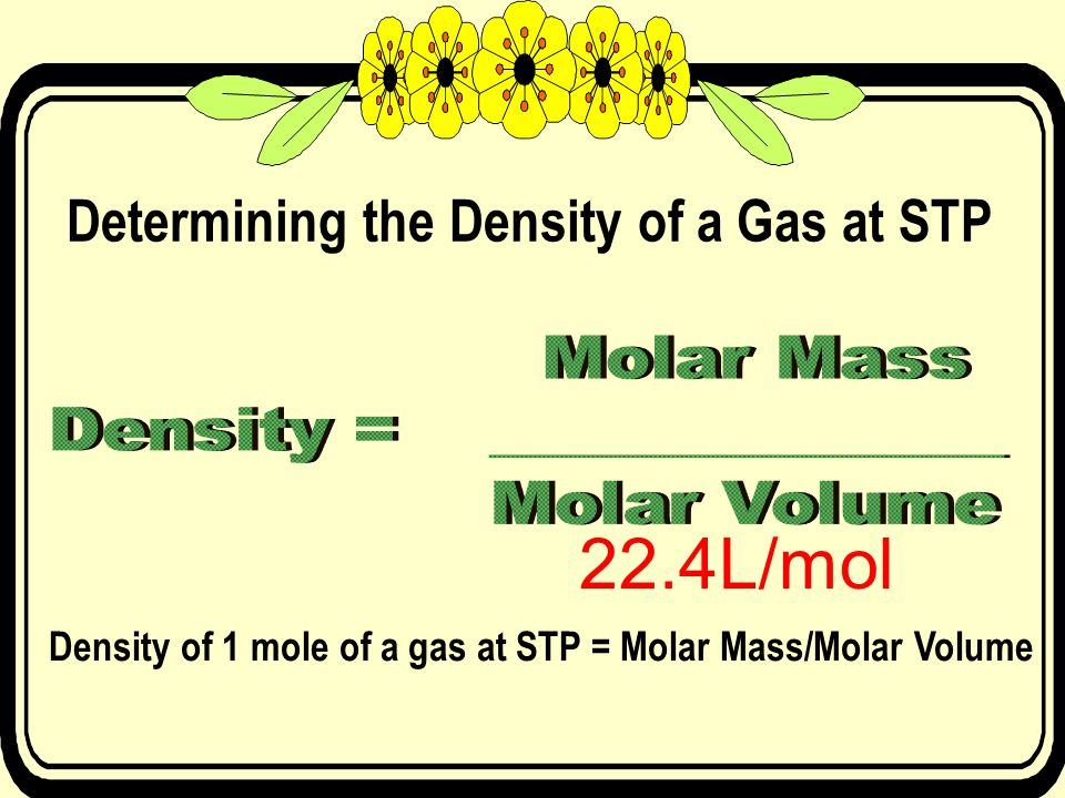 22.4L/mol Determining the Density of a Gas at STP