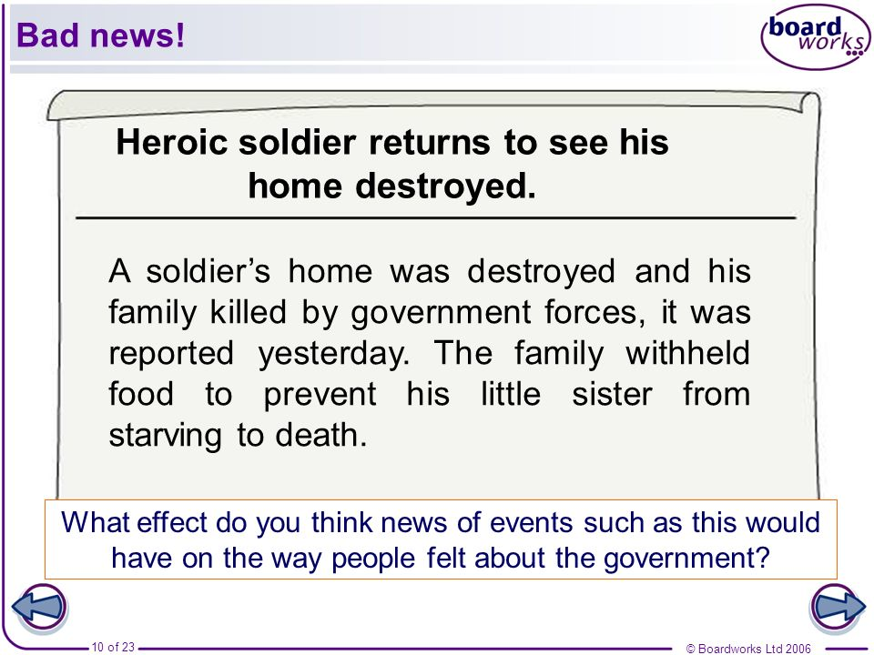 Heroic soldier returns to see his home destroyed.