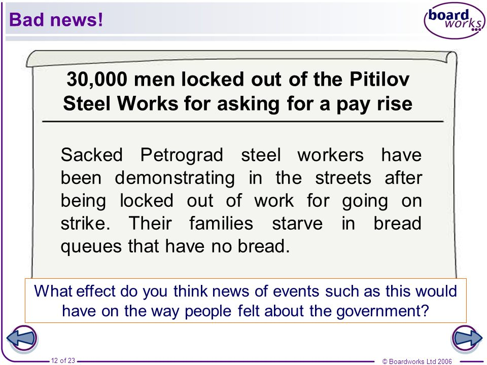 Bad news! 30,000 men locked out of the Pitilov Steel Works for asking for a pay rise.