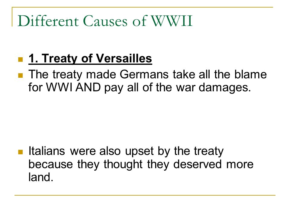 Different Causes of WWII