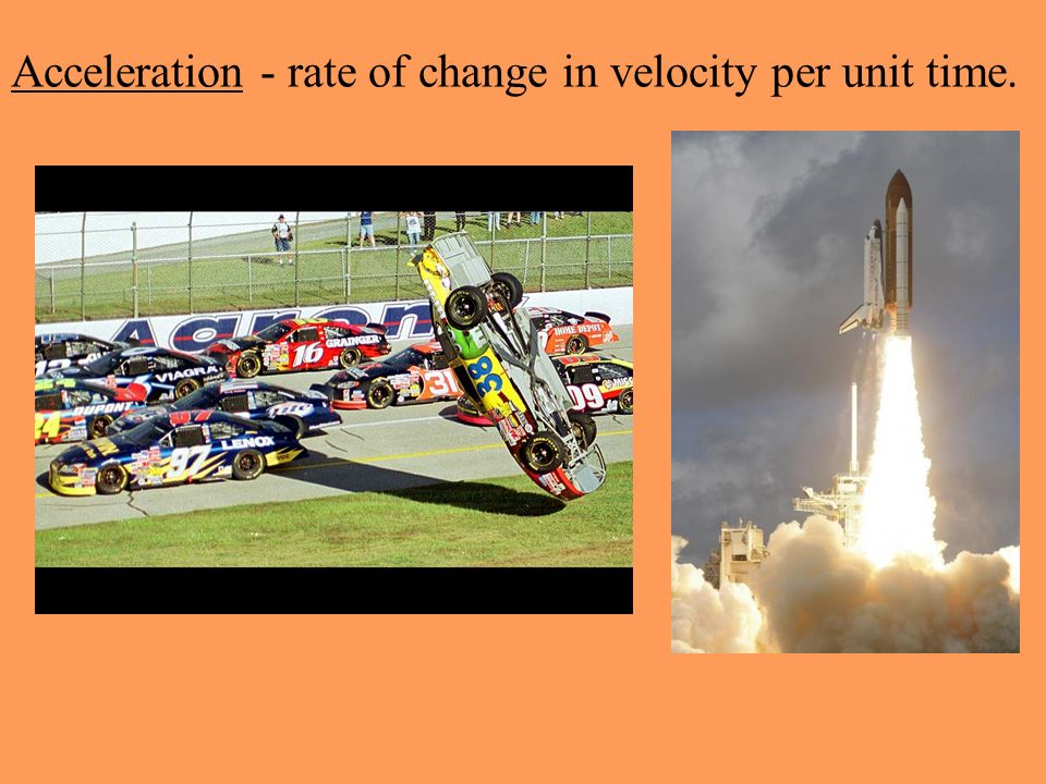 Acceleration - rate of change in velocity per unit time.