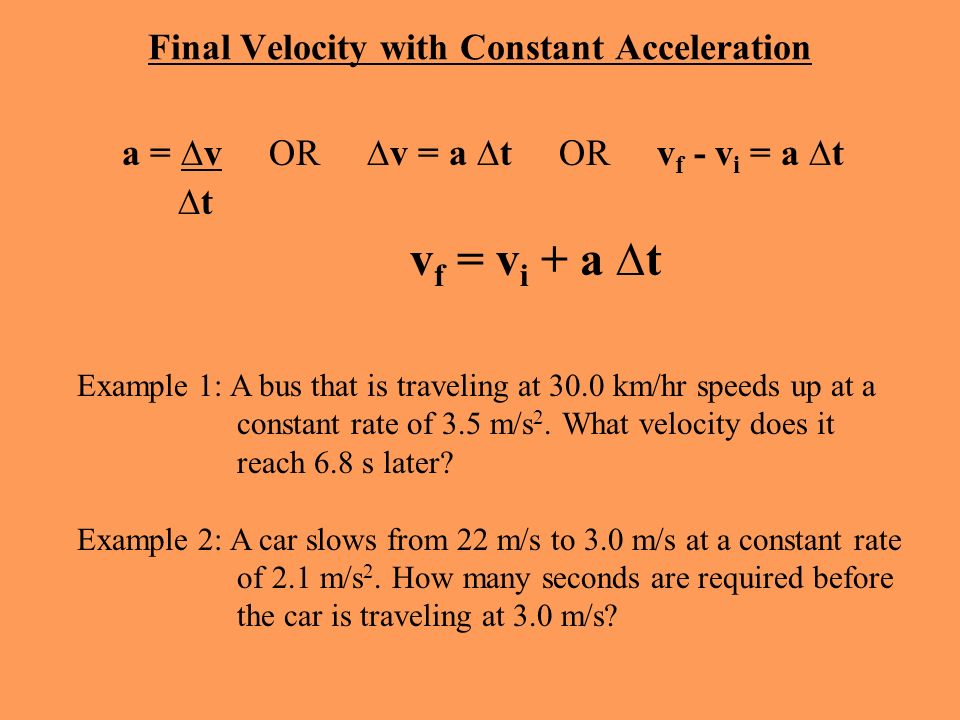 Final Velocity with Constant Acceleration