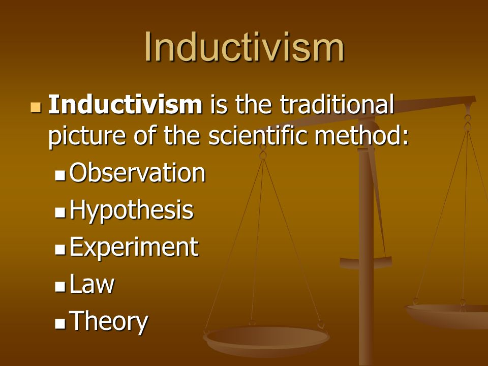 Inductivism Inductivism is the traditional picture of the scientific method: Observation. Hypothesis.