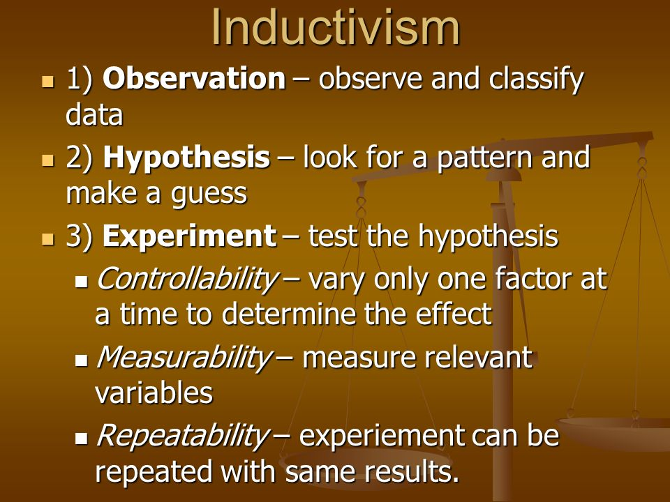 Inductivism 1) Observation – observe and classify data