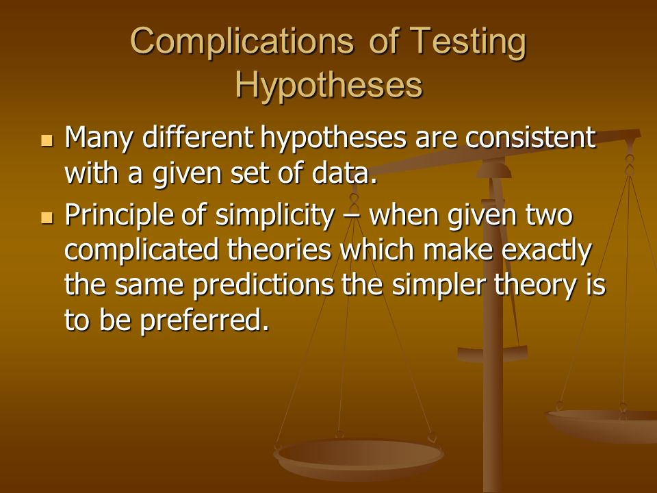 Complications of Testing Hypotheses