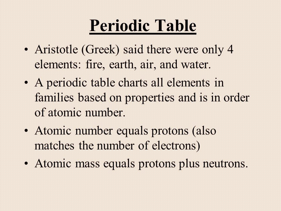 Periodic Table Aristotle (Greek) said there were only 4 elements: fire, earth, air, and water.