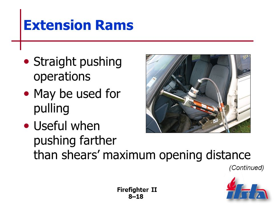 Extension Rams Straight pushing operations May be used for pulling
