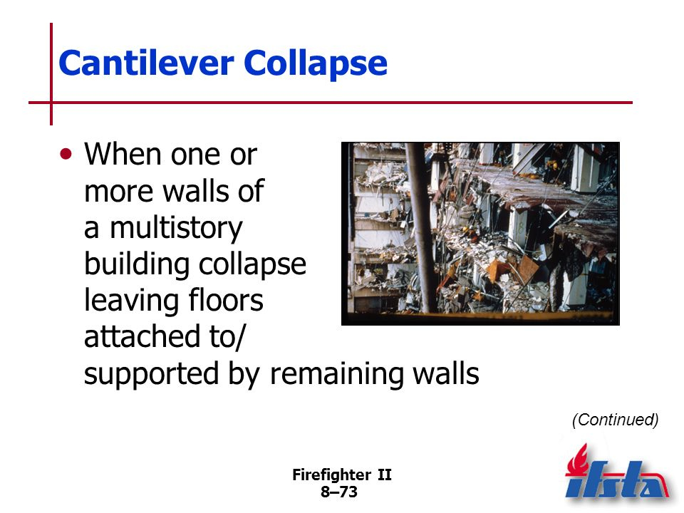 Cantilever Collapse When one or more walls of a multistory building collapse leaving floors attached to/ supported by remaining walls.