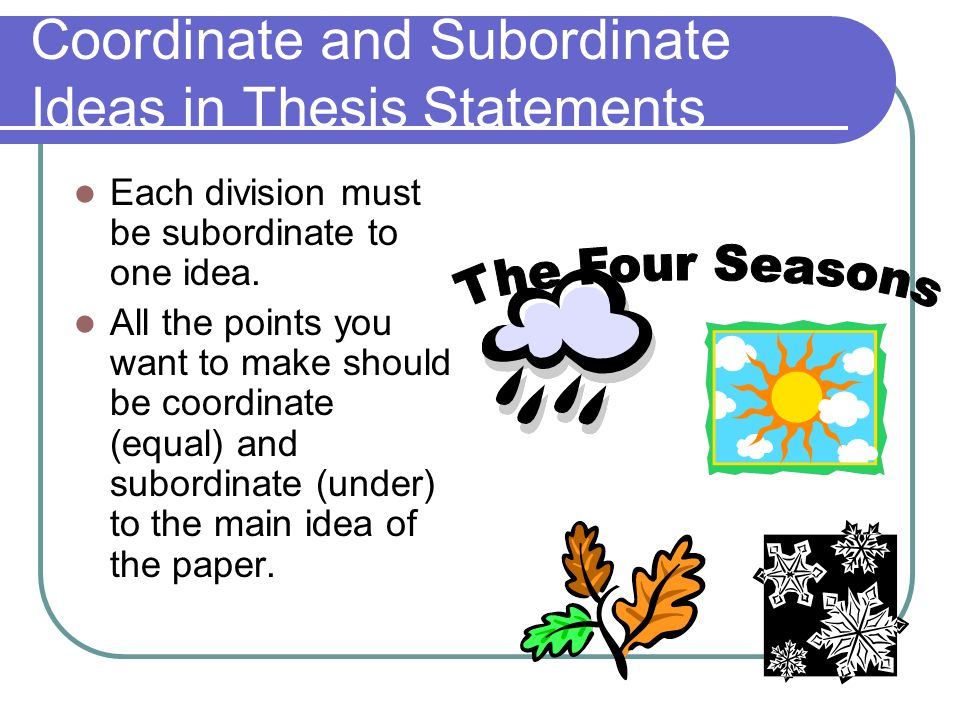Coordinate and Subordinate Ideas in Thesis Statements
