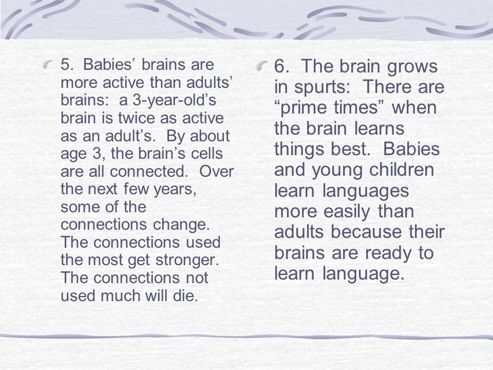5. Babies' brains are more active than adults' brains: a 3-year-old's brain is twice as active as an adult's. By about age 3, the brain's cells are all connected. Over the next few years, some of the connections change. The connections used the most get stronger. The connections not used much will die.