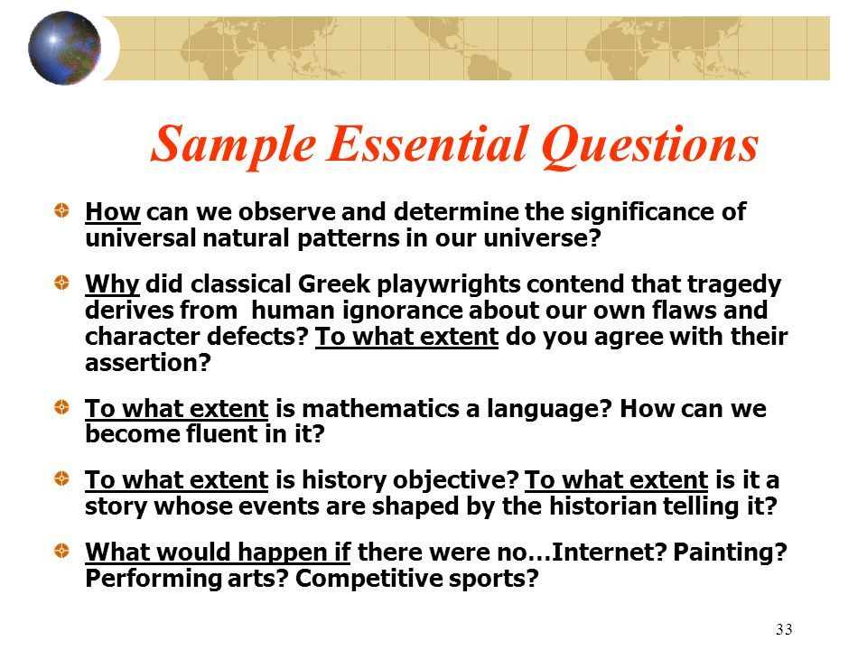 Sample Essential Questions