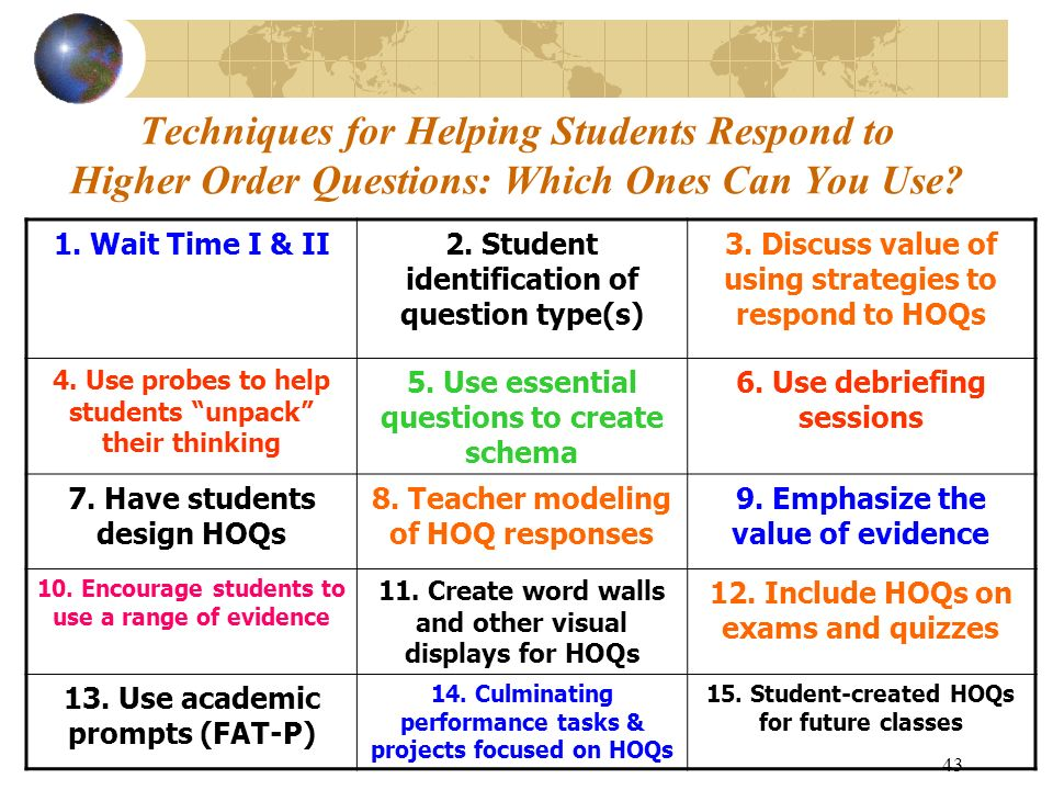 Techniques for Helping Students Respond to Higher Order Questions: Which Ones Can You Use