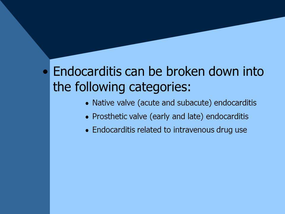 Endocarditis can be broken down into the following categories: