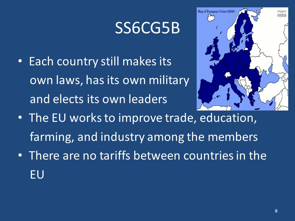 SS6CG5B Each country still makes its own laws, has its own military