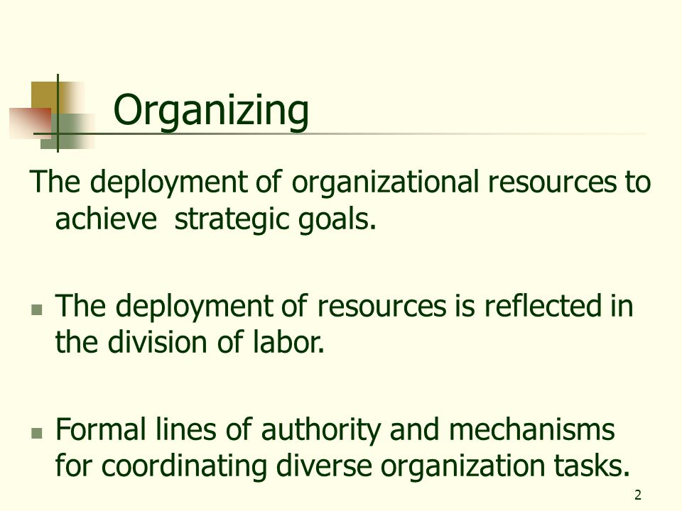 Organizing The deployment of organizational resources to achieve strategic goals.
