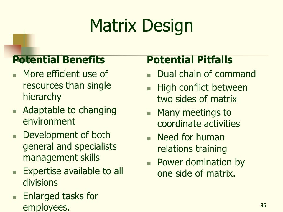Matrix Design Potential Benefits Potential Pitfalls