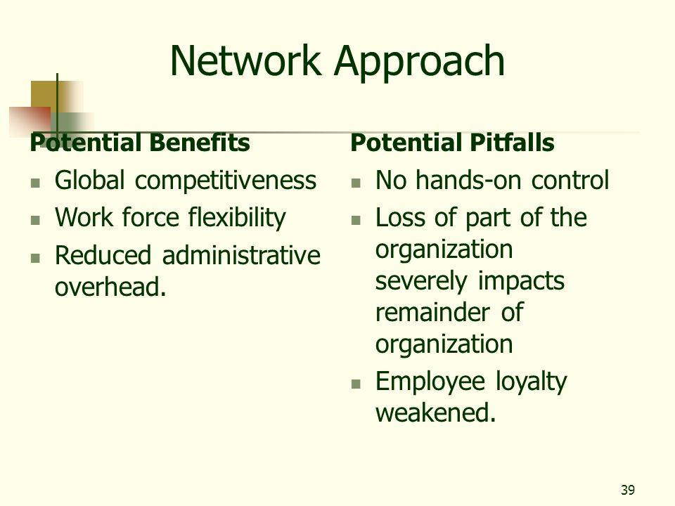 Network Approach Global competitiveness Work force flexibility