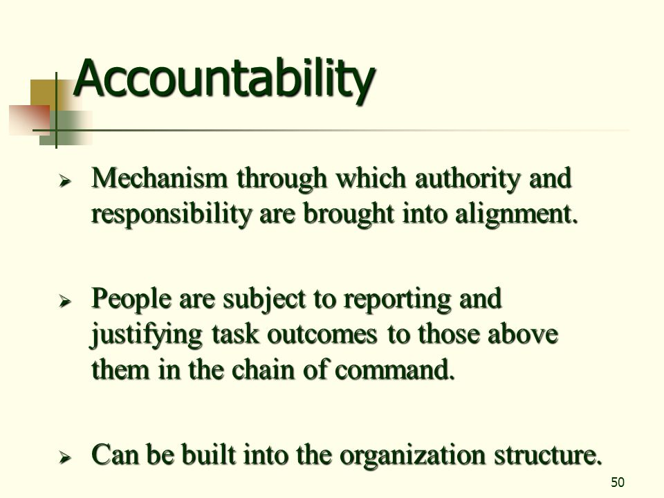 Accountability Mechanism through which authority and responsibility are brought into alignment.