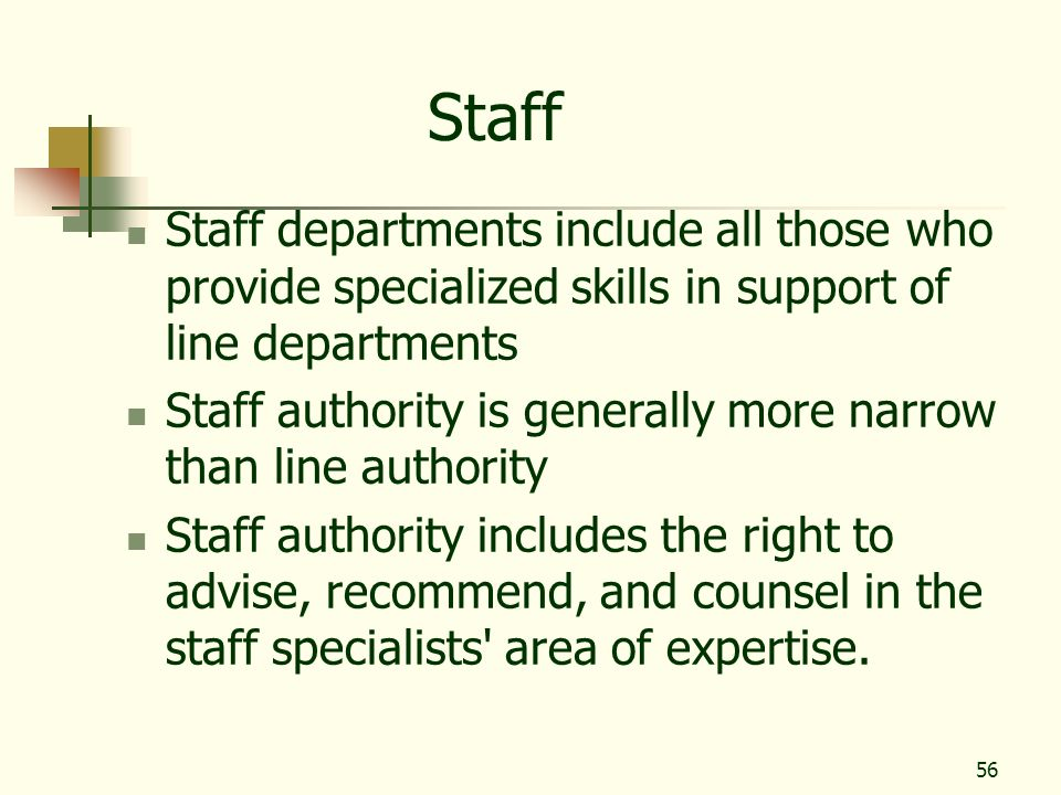 Staff Staff departments include all those who provide specialized skills in support of line departments.