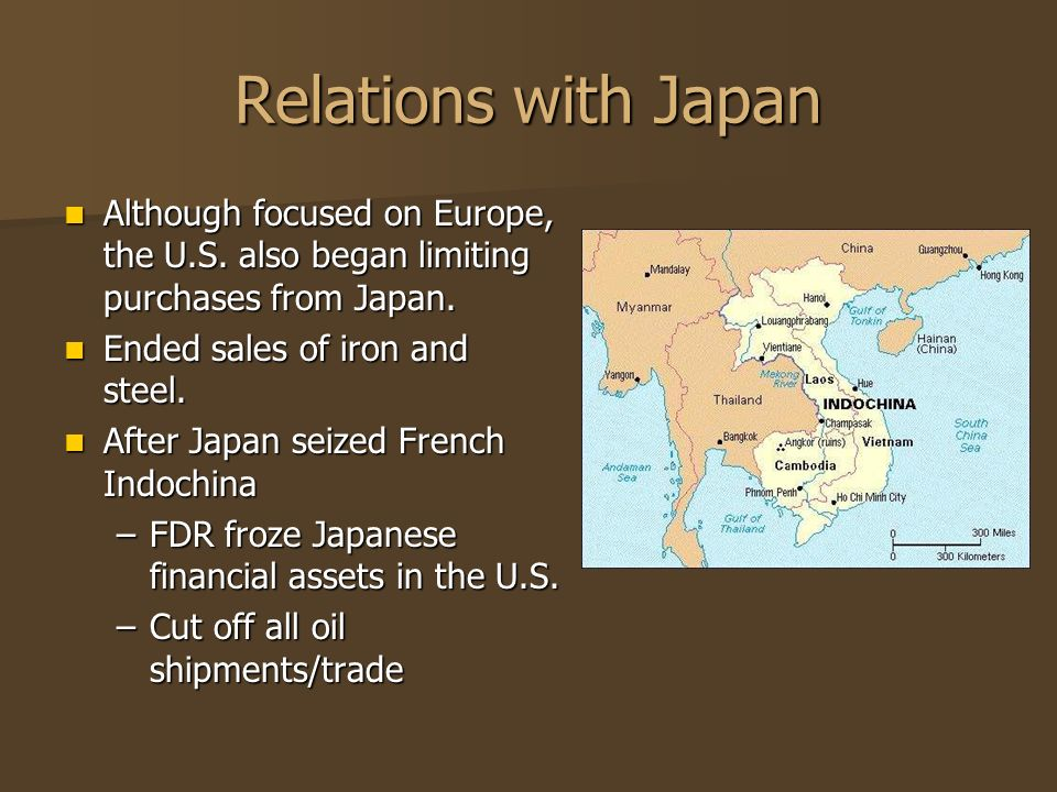 Relations with Japan Although focused on Europe, the U.S. also began limiting purchases from Japan.