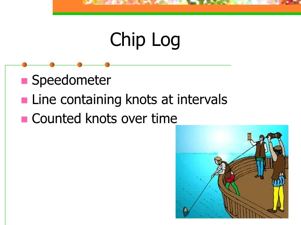 Chip Log Speedometer Line containing knots at intervals