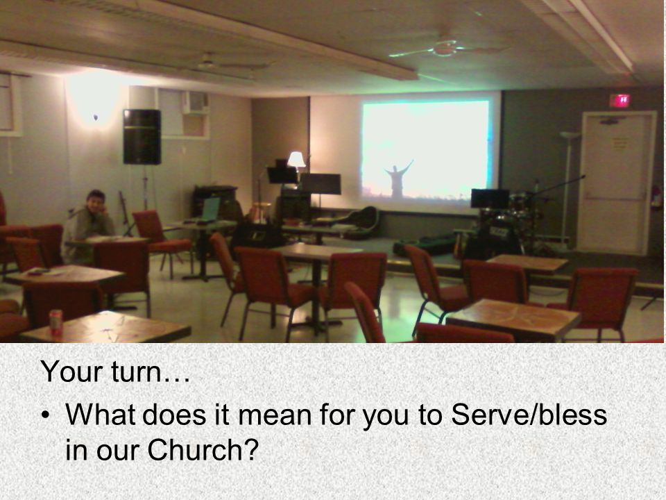 Your turn… What does it mean for you to Serve/bless in our Church