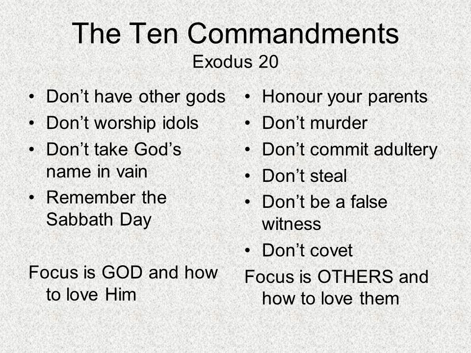 The Ten Commandments Exodus 20