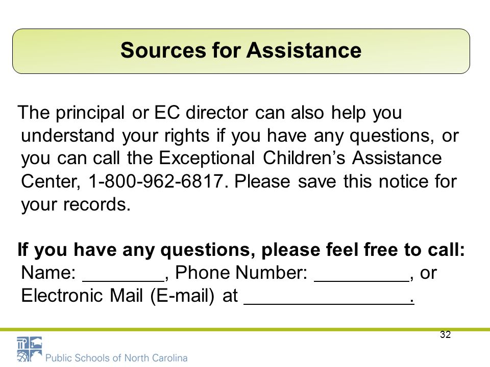 Sources for Assistance