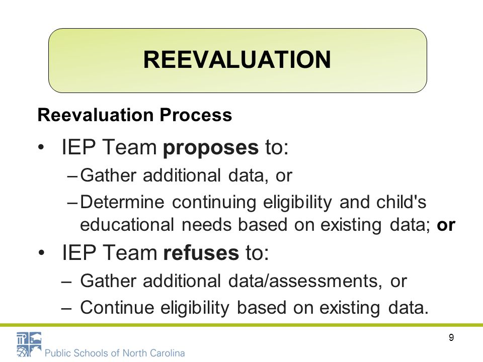 REEVALUATION IEP Team proposes to: IEP Team refuses to: