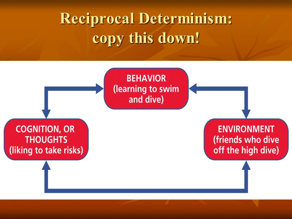 Reciprocal Determinism: copy this down!
