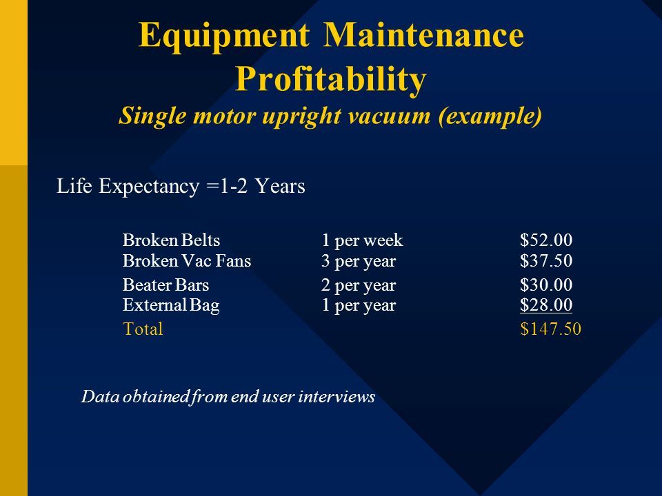 Equipment Maintenance Profitability Single motor upright vacuum (example)