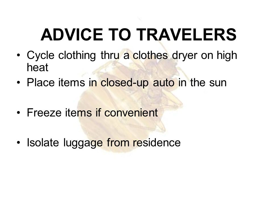 ADVICE TO TRAVELERS Cycle clothing thru a clothes dryer on high heat
