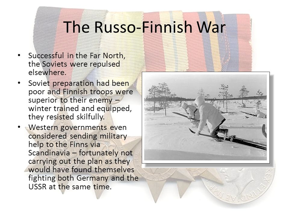 The Russo-Finnish War Successful in the Far North, the Soviets were repulsed elsewhere.