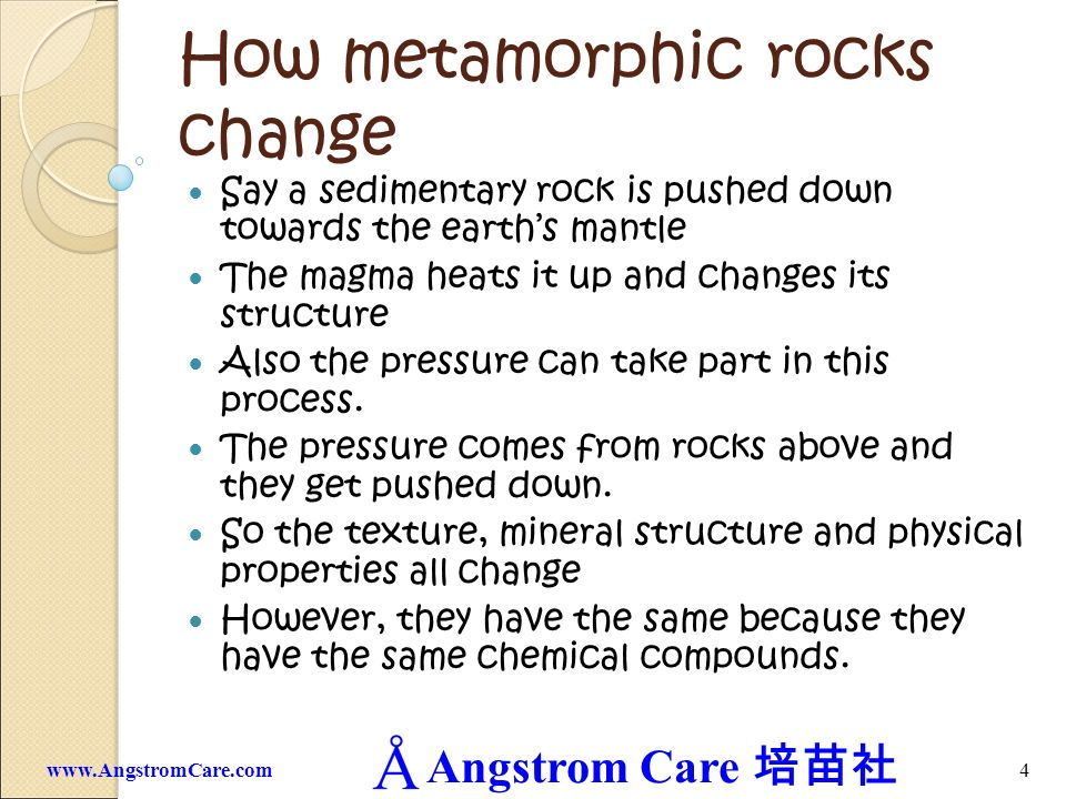 How metamorphic rocks change