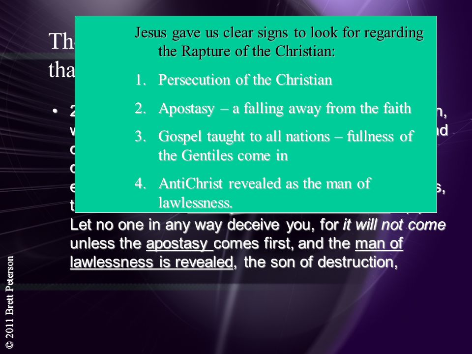 Jesus gave us clear signs to look for regarding the Rapture of the Christian: