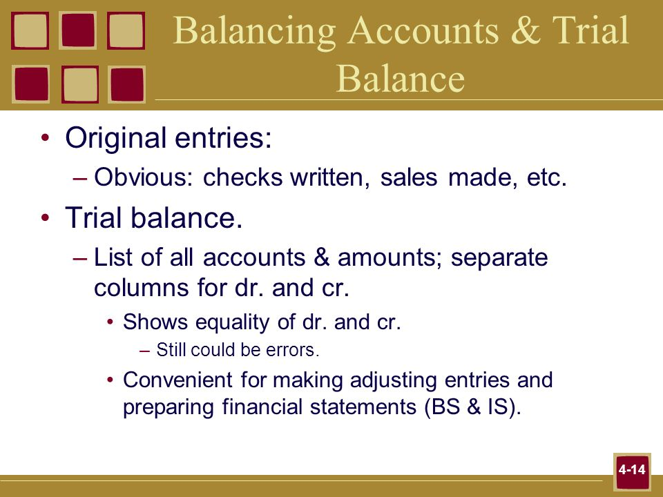 Balancing Accounts & Trial Balance