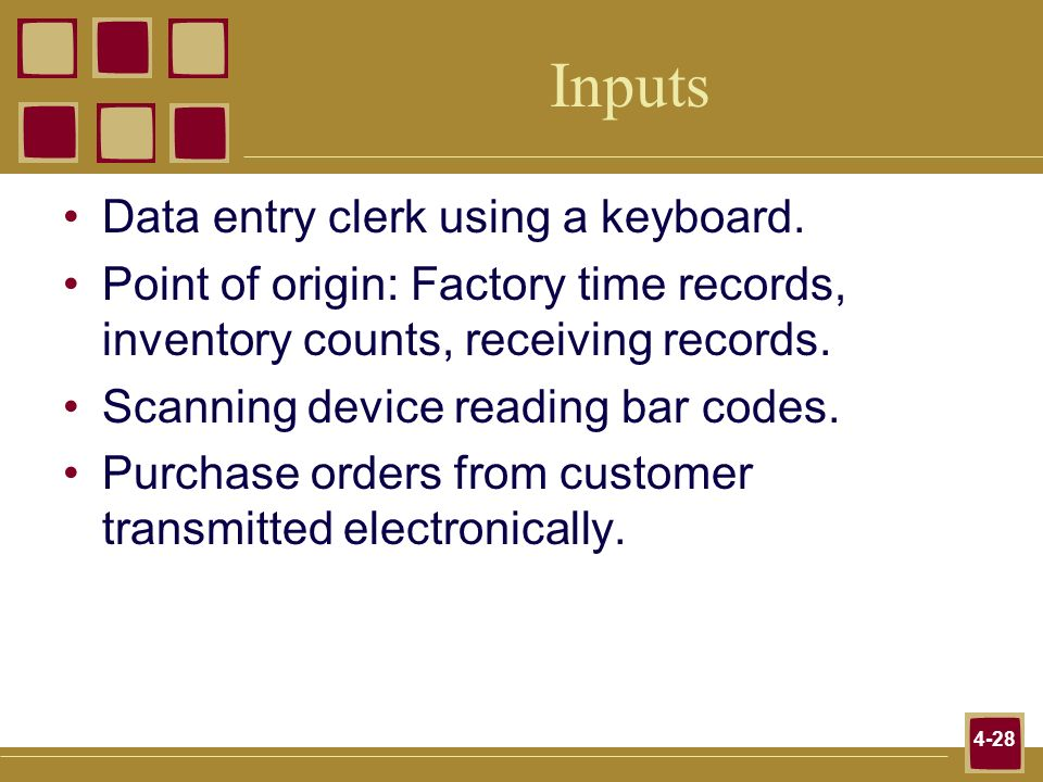 Inputs Data entry clerk using a keyboard.