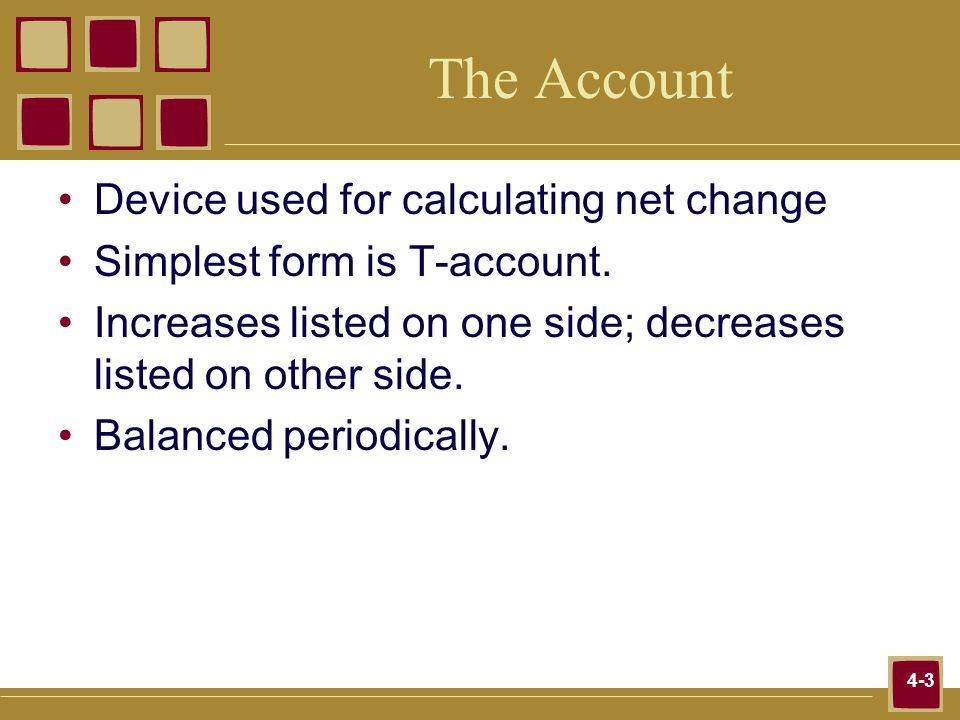 The Account Device used for calculating net change