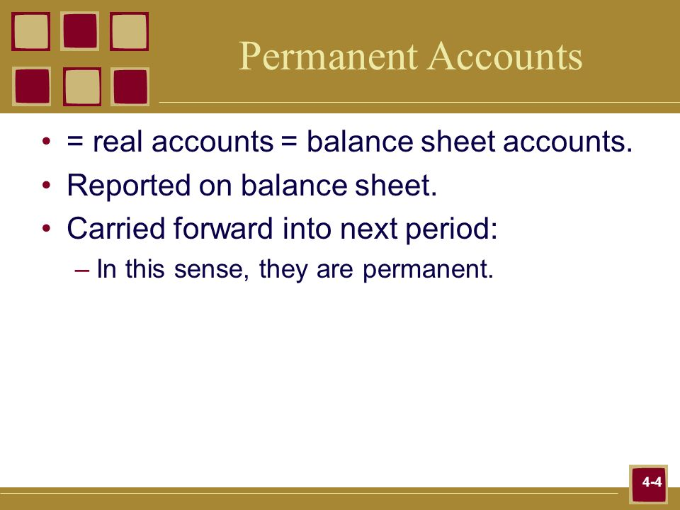 Permanent Accounts = real accounts = balance sheet accounts.