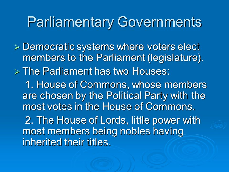 Parliamentary Governments