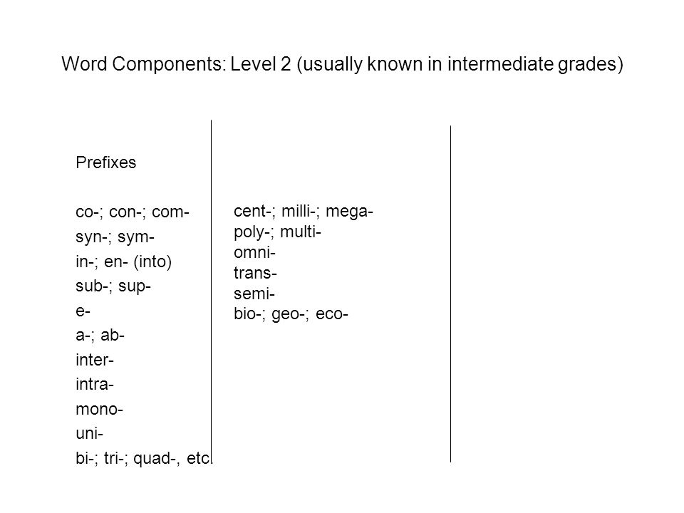 Word Components: Level 2 (usually known in intermediate grades)