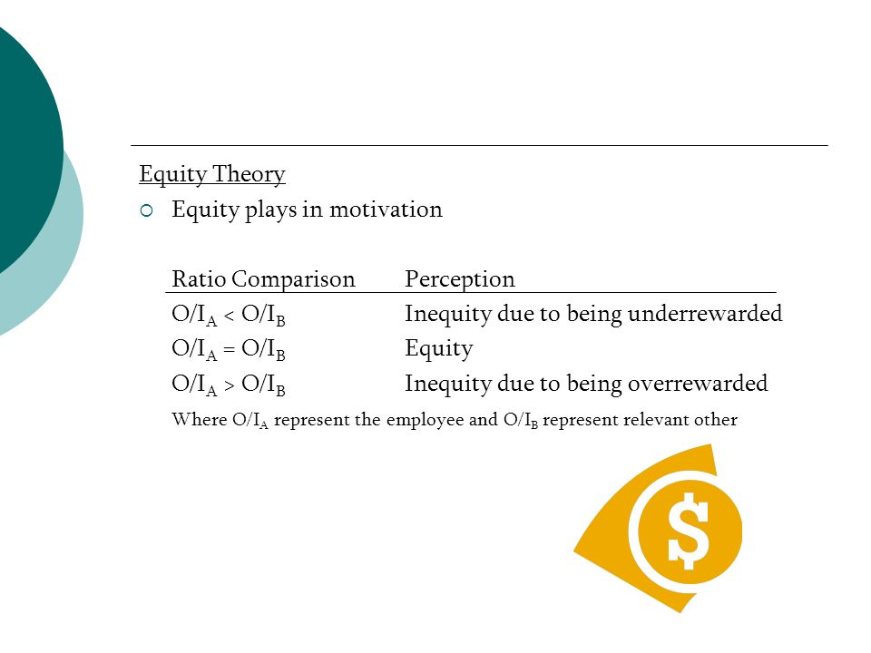 Equity plays in motivation Ratio Comparison Perception