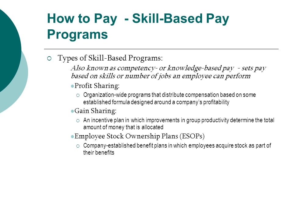 How to Pay - Skill-Based Pay Programs