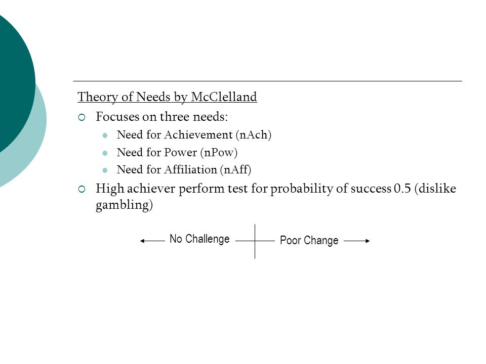 Theory of Needs by McClelland Focuses on three needs: