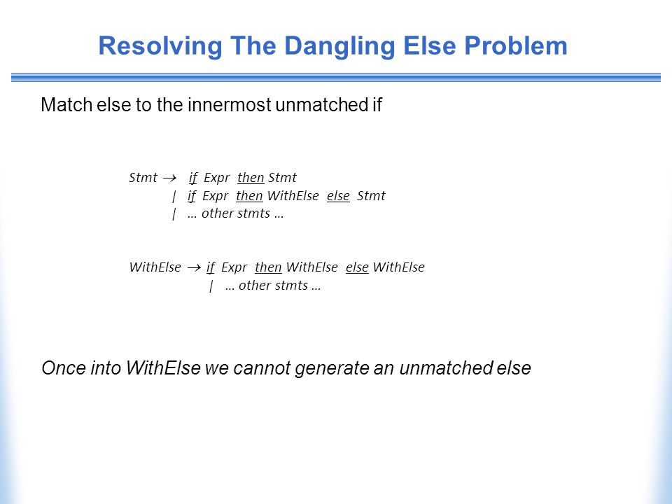 Resolving The Dangling Else Problem