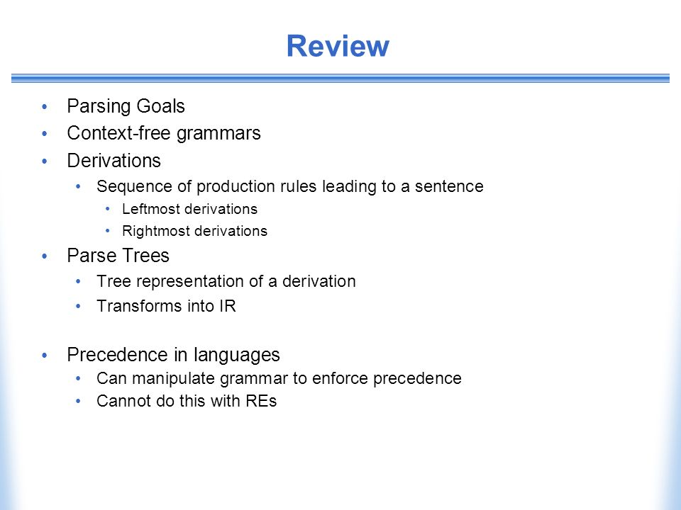 Review Parsing Goals Context-free grammars Derivations Parse Trees
