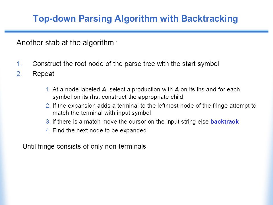 Top-down Parsing Algorithm with Backtracking