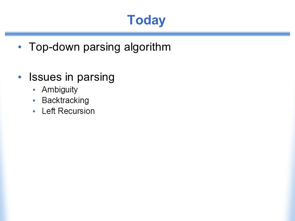 Today Top-down parsing algorithm Issues in parsing Ambiguity