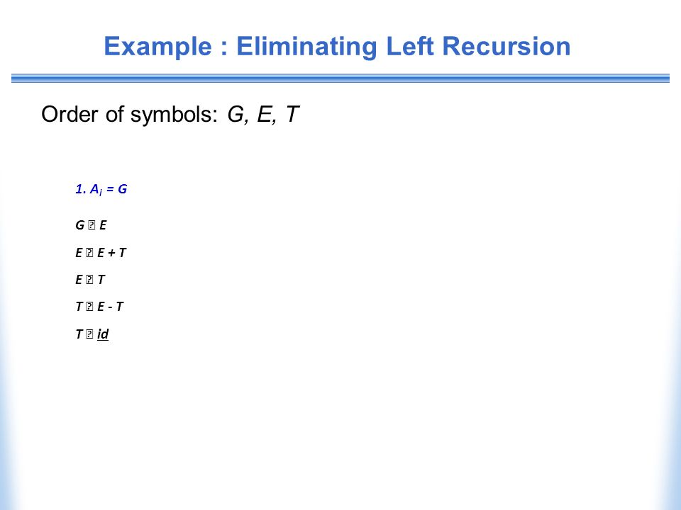 Example : Eliminating Left Recursion